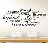Wandtattoo-Macher E003 Wandtattoo Latte Macchiato Cappuccino Espresso + Tasse Wandaufkleber Kupfer (BxH) 130 x 58 cm