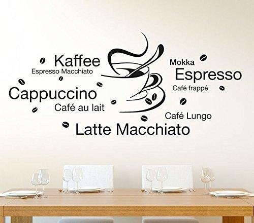 Wandtattoo-Macher E003 Wandtattoo Latte Macchiato Cappuccino Espresso + Tasse Wandaufkleber gold (BxH) 130 x 58 cm