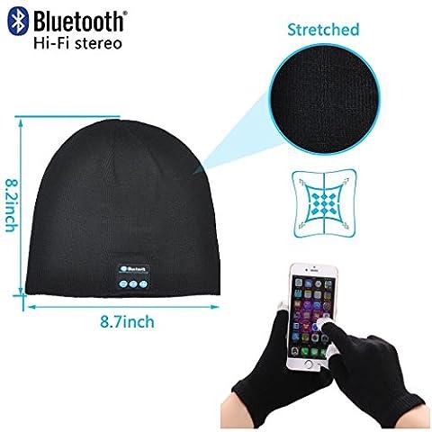 Fone-Case Huawei P8lite ALE-L04 (Black) Wireless Bluetooth Beanie-Hut mit Stereo-Kopfhörer-Headset-Lautsprecher Hands-Free Eingebaute und Touchscreen-Handschuhe mit 3 Fingern Silber beschichtete Nylon Faser-Spitzen