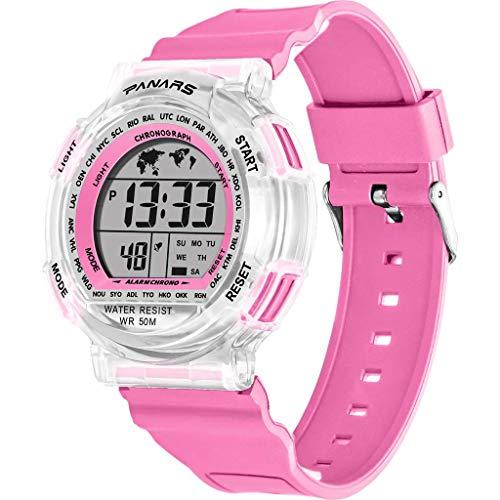 Janly Smart Uhren, Multi Funktions Waterproof Bunte Leuchtende Paar Sport Elektronische Uhr (Rosa)