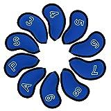 Schlägerhauben für Golfschläger, Neopren, 10 Stück, für Callaway Cobra Ping G30 G25 Taylormade M2 M1 Titleist 718 AP1 AP2 AP3, blau, S