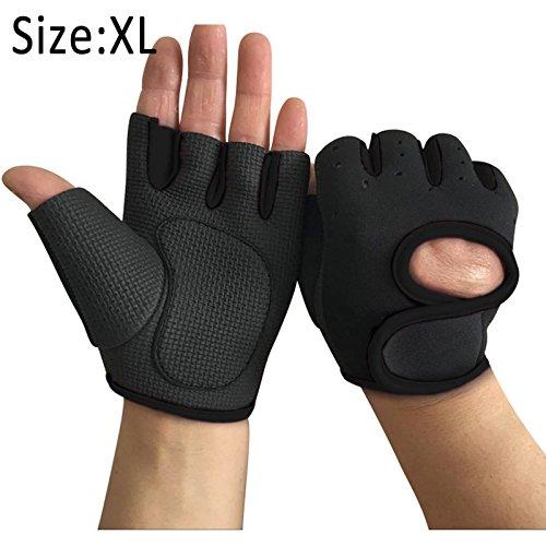 Symboat 1Paar Frauen Männer Work Out Handschuhe Gewicht heben Gym Sport Übung Ausbildung halbe Finger, noir-XL