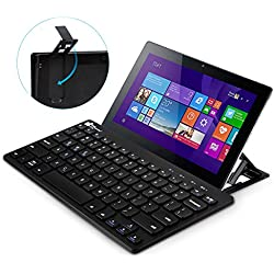 EC Technology Multi-Device Bluetooth Keyboard Ultra-Slim Universal Wireless Portable Keyboard for Android Windows iOS PC Tablet Smartphone with Stand- Black