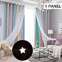 """ستائر تعتيم النجوم ليكسادا ستار ستائر التعتيم للأطفال البنات غرفة النوم غرفة المعيشة الملونة طبقة مزدوجة ستار ستائر النافذة، 1 لوحة (40 بوصة عرض × 52 بوصة طول، بيج) Pink 53""""W x 95""""L KDPTH30406-P4"""