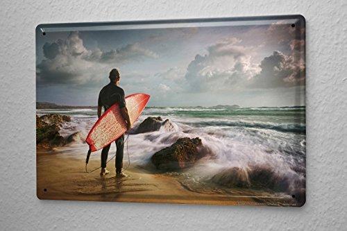 Blechschild Sport Surfer Surfbrett Strand Wellen Deko Wand Schild 20X30 cm