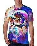 chicolife Unisex Herren Jungen Baby Space Katze Shirt 3D Gedruckt Sommer Casual Kurzarm T-Shirts T-stücke