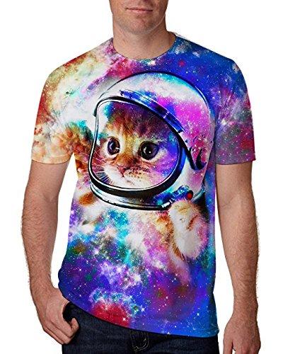 Chicolife Unisex Herren Jungen Baby Space Katze Shirt 3D Gedruckt Sommer Casual Kurzarm T-Shirts T-Stücke (T-shirts Katze)