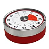Rishil World 8cm Magnets Fridge Kitchen Timer Mechanical Reminder Sport Stainless Steel