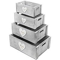 Preisvergleich für 4tlg. Kistenset Home mit Herzapplikation und Tragegriffen Shabby Holzkiste Dekokiste Aufbewahrungskiste Allzweckkiste Holzkasten