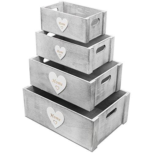 4tlg. Kistenset Home mit Herzapplikation und Tragegriffen Shabby Holzkiste Dekokiste Aufbewahrungskiste Allzweckkiste Holzkasten