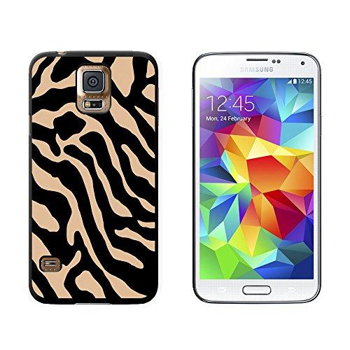 Zebra Print Tan–Snap on Hart Schutzhülle für Samsung Galaxy S5–Schwarz