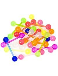 Set de 20piercing para lengua, Bioflex, barra de 18 mm, brillo UV, flexibles y cómodos, varios colores