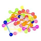 BodyJewelryonline, 20 piercing assortiti in bioflex per lingua 14 ga, 18 mm, UV fluorescenti, flessibili e confortevoli