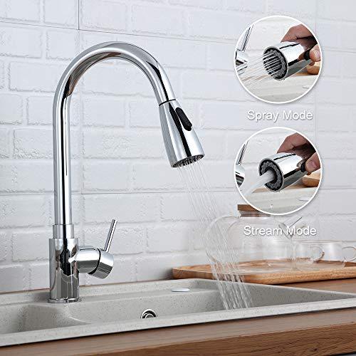 GAVAER Küchenarmatur mit herausziehbarer Dual-Spülbrause.360°drehbar Wasserhahn küche,Einhebel-Spültischarmatur,Kaltes und Heißes Wasser Vorhanden | Messing verchromt | Lebenslange Garantie.