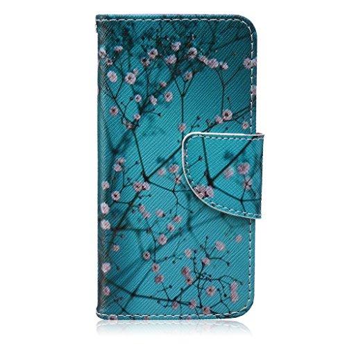 Igrelem® iPhone 55S Premium PU Leather Flip Case, Custodia a portafoglio + Cover in Silicone per Apple Iphone 5/5S, Custodia protettiva con chiusura magnetica + Card Slot, Piuma, Fiori, Gatto, disegn Plum blossom, Blue