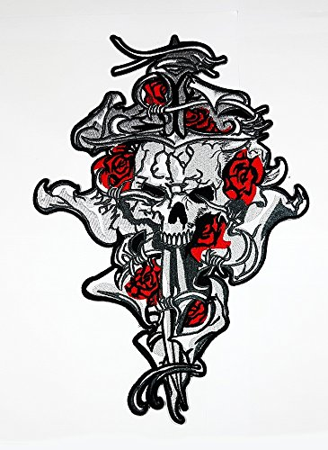 rabana XXL der Savage Schwert Totenkopf Rosen Motorrad Biker MC Club Patch für DIY Bone Ghost Hog Outlaw Hot Rod Motorräder Rider Lady Biker Jacket T Shirt Patch Sew Iron on gesticktes Badge Schild Kostüm (Diy Tag Der Toten Kostüme)