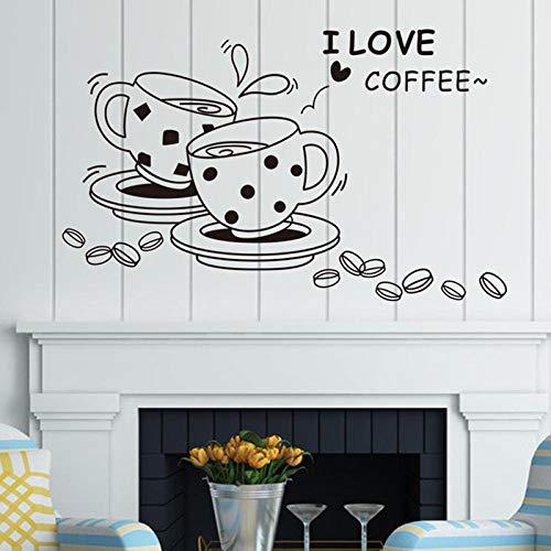 fancjj Ich Liebe Kaffee Aufkleber Kaffeetasse wasserdicht Wohnzimmer Schlafzimmer Hintergrund Wohnkultur PVC Generation Wand Stickerswall Aufkleber