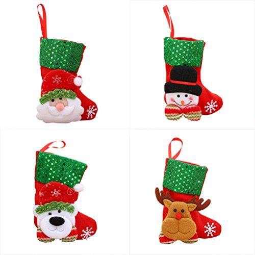 Calza natale oulii calze da appendere per decorazione albero natalizio con babbo natale pupazzo di neve renna e orso 4pcs