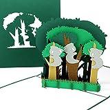 """Pop Up Karte """"Koalas - Koalabären im Wald"""" - 3D Grußkarte als Einladungskarte & Reisegutschein Australien, Geburtstagskarte Gutschein & Einladung in den Zoo"""