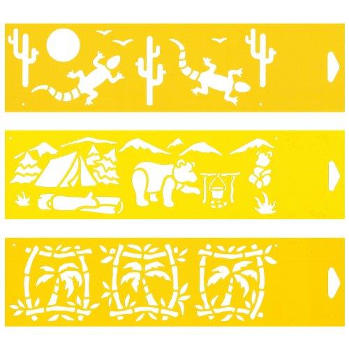 8cm Flexibel Kunststoff Universal Schablone - Textil Kuchen Wand Airbrush Möbel Dekor Dekorative Muster Torte Design Technisches Zeichnen Zeichenschablone Wandschablone Kuchenschablone - Wüste Tiere Camping Campingplatz Palm Bäume (Wüste Dekor)