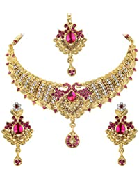 Spargz Floral Gold Plated Bollywood Purple AD Stone Fashion Bridal Jewellery Necklace Set For Women AINS_301