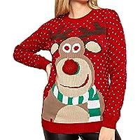 Otoño e Invierno Jersey Flojo Navidad Fawn Cuello Redondo Jersey suéter Casual suéter de Manga Larga