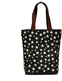 Black Color With Gold Stars Leather And Canvas Tote Shoulder Bag Stylish Shopping Casual Bag Foldaway Travel Bag