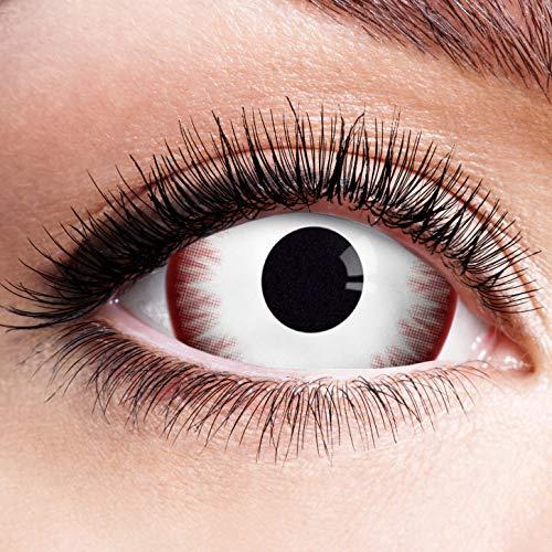 Farbige Kontaktlinsen Rot Weiß Ohne Stärke Motiv Eye Linsen Halloween Karneval Fasching Cosplay Kostüm Red White Eyes Weiße Rote Augen Komplett Mini Sclera Zombie Vampir 17mm (Eye Blind Kontaktlinsen Halloween)
