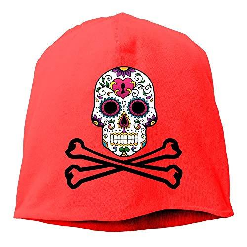 GONIESA Pirate Sugar Skull Flag Beanies Caps Skull Hats Unisex Soft Cotton Warm Hedging Cap,One ()