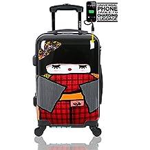 Maleta de Mano Maleta de Cabina Trolley de Cabina para Ryanair Easyjet Vueling de TOKYOTO LUGGAGE 4 Ruedas tamaño 55x35x20cm JAPAN DOLL (Maleta Preparada para cargar Mobiles)