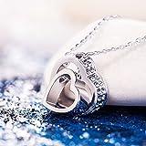 "Pauline & Morgen ""LOVE YOU FOREVER"" Engraved SWAROVSKI ELEMENTS Crystal Heart Women Necklace Bild 2"