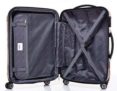BEIBYE Zwillingsrollen 2048 Hartschale Trolley Koffer Reisekoffer in M-L-XL-Set in 17 Farben (Rosa Gold, XL) - 7