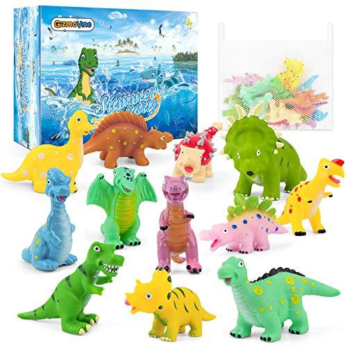 GizmoVine Giochi BagnettoGiochi Neonati Dinosauro con Rete Organizzatore per Giocattoli Bagno Galleggianti da Bagno Giochi Vasca da Bagno Bambini