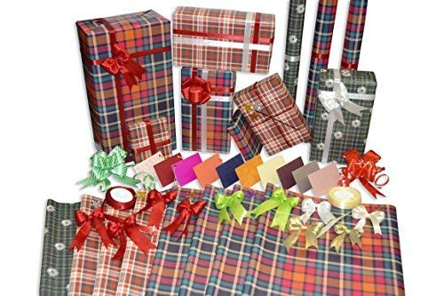 Allied Quality Assured Wrapping Paper Cross Check Sheet Roll with 2 Ribbons, 12 Bows, 10 Cards and 7 Glitter Strikers, 27x18.5 Inches (Pack of 8)