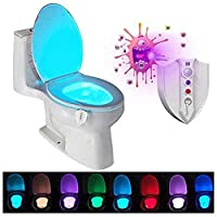 Caxmtu LED Toilet Light Nightlight with UV-C Light Motion Detection Night Light Sensitive Dusk to Dawn 8 Colors Battery…