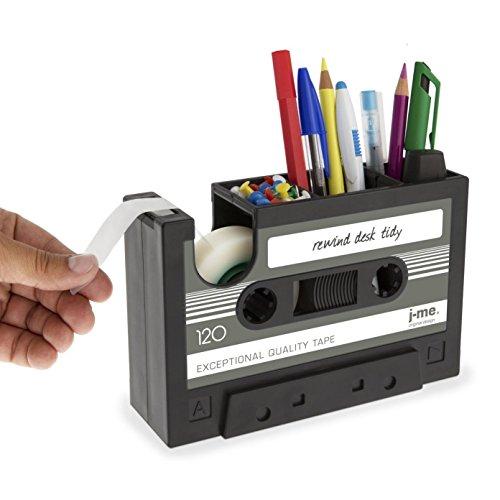 DMZK Organizador de Escritorio Vintage para lapices rotuladores bolígrafos ect, diseño de Cassette de Audio