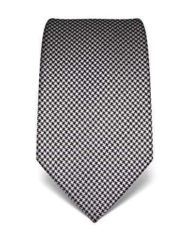 Vincenzo Boretti Herren Krawatte reine Seide Hahnentritt Muster edel Männer-Design gebunden zum Hemd mit Anzug für Business Hochzeit 8 cm schmal / breit weiß / schwarz (Krawatte Seide Reine Schwarz)