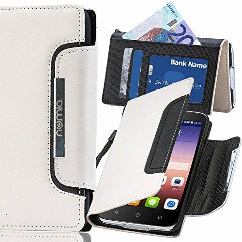 Huawei Ascend G7 Hülle, numia Handyhülle Handy Schutzhülle [Book-Style Handytasche mit Standfunktion & Kartenfach] Pu Leder Tasche für Huawei Ascend G7 Case Cover [Weiss-Schwarz]