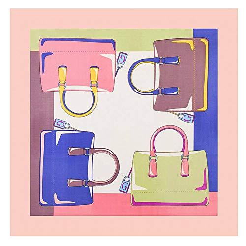 Peacock Print Seide (GSGJWJ Weibliche Foulard Euro Design Kleine Hijab Wagon Wheel Print Quadratische Schals Luxusmarke Frauen Schal Seide Bandana 60Cm X 60Cm-Peacock Blue)
