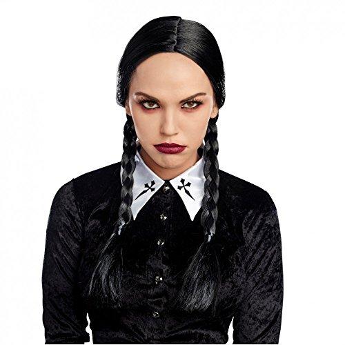 Zopfperücke Böses Mädchen Langhaar-Perücke schwarz Fasching (Kostüm Mädchen Addams Family)