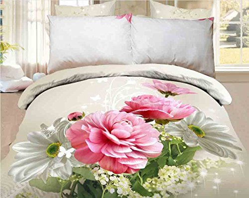 CUSHIONMANIA 3D-Effekt Double King Size 3 PCS Bettwäsche Set Animal Floral Rot Rose (Double, pink Blumen) (Rose Floral Bettwäsche-set)
