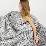 Bulgary Strickdecke, grob gestrickte Wolldecke als Überwurf fürs Sofa- oder Tagesdecke, Wolle, grau, C£º120*150cm/47.42*59.05in