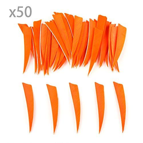 """VERY100 50 Stück Naturfedern Federn Shield Cut 4\"""" RW Truthahnfedern Pfeilfedern (Orange)"""