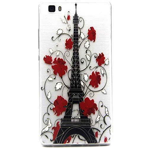 ISAKEN Custodia iphone 6, iphone 6S Cover Case, ISAKEN UltraSlim TPU Case per Apple iPhone 6s iPhone 6 ( 4.7 ) 4,7 pollici, Elegant Printing Drawing Pattern Cose cover sottile Silicone Custodia Morbi torre eiffel flower rossa