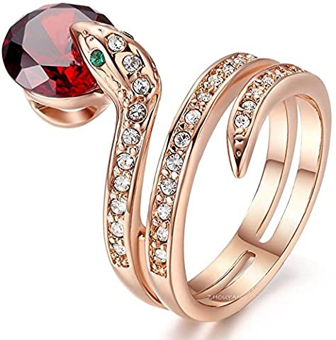 SaySure - Rose Gold Plated Genuine Austrian Crystals Snake Ring