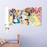 ufengke Adesivi Murali Principessa Adesivi Muro 3D per Camerette Bambini Asilo Nido Casa