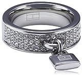 Tommy Hilfiger jewelry Damen-Ring Edelstahl Schloss Anhänger Swarovski-Kristalle weiß Gr. 52 (16.6) 2700396B
