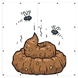 Wallario XXL Garten-Poster Outdoor-Poster - Comic Scheißhaufen mit Fliegen in Premiumqualität, für den Außeneinsatz geeignet