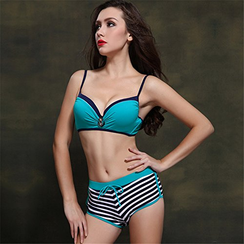 Mme summer maillot frappé l'ouest de split stripe angle plat maillot maillot-YU&XIN Green