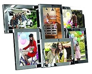 Cadre photo pêle-mêle à suspendre ou à poser - Métal acier chromé - Capacité 6 photos